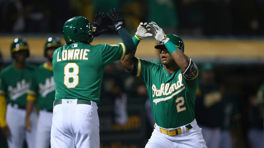 277a29ab6 Khris Davis blasted two jacks on Friday to land in our MLB DFS perfect  lineup. Who joined him?